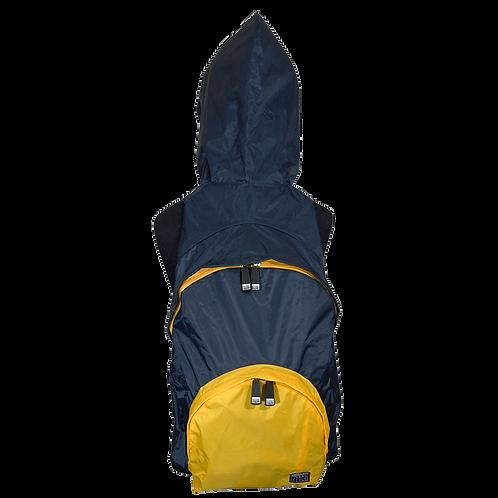 Mochila com capuz - marinho - capuz interno e bolso externo amarelo