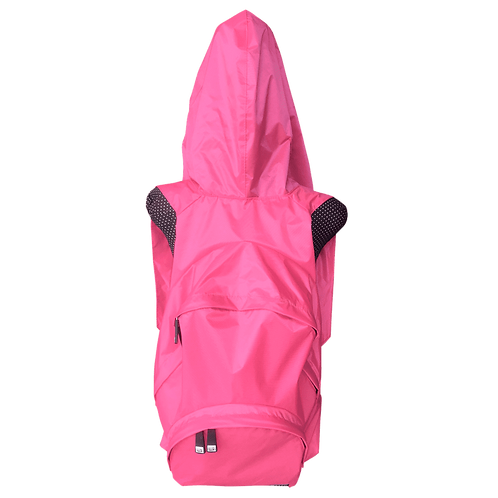 Mochila com capuz - rosa - capuz interno cinza escuro
