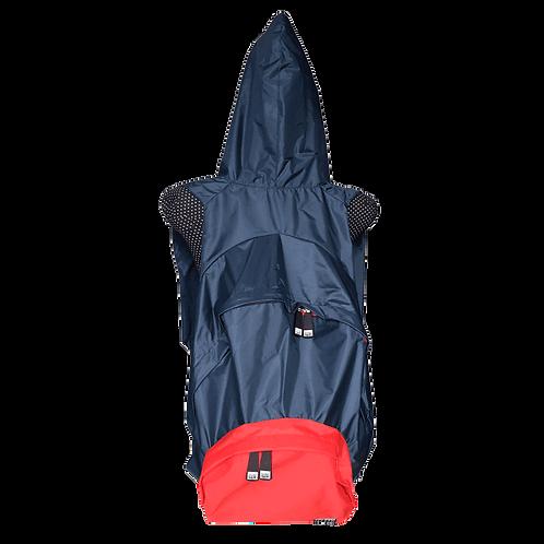 Mochila com capuz - marinho - capuz interno e bolso externo vermelho