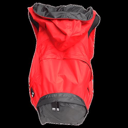 Mochila vermelha - capuz interno e bolso externo cinza escuro
