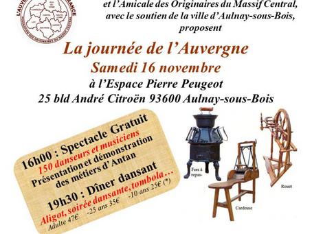 A venir : Sam 16 Nov  Journée de l'Auvergne à Aulnay-sous-Bois