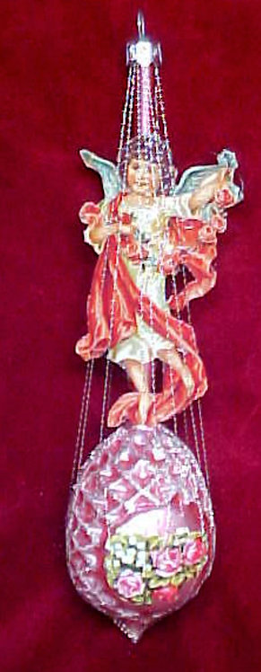#1340-019 - Wire Wrapped Angel on Pine Cone, Pink