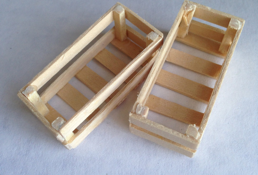 Pair of Slatted bottomed Wooden Vegetable Boxes