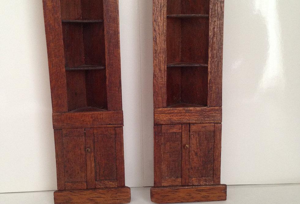 Pair of Dark Wooden Corner Units