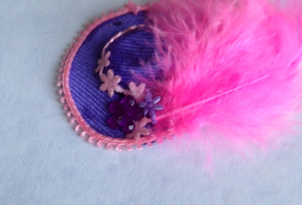 Blue Hat with Pink Feather and Trim