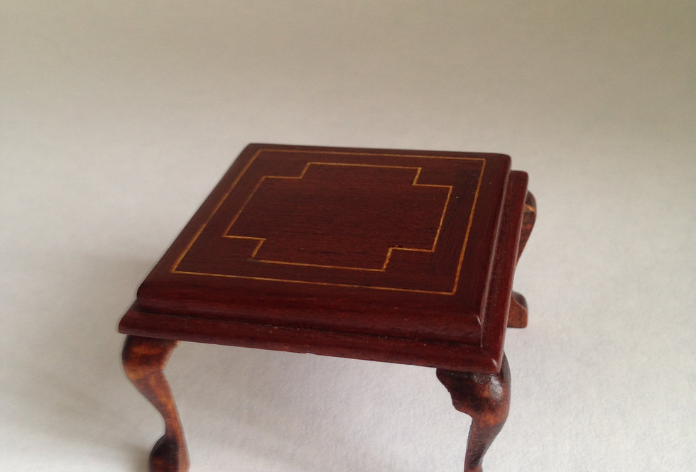 Oblong Dark Wood Inlaid Side Table