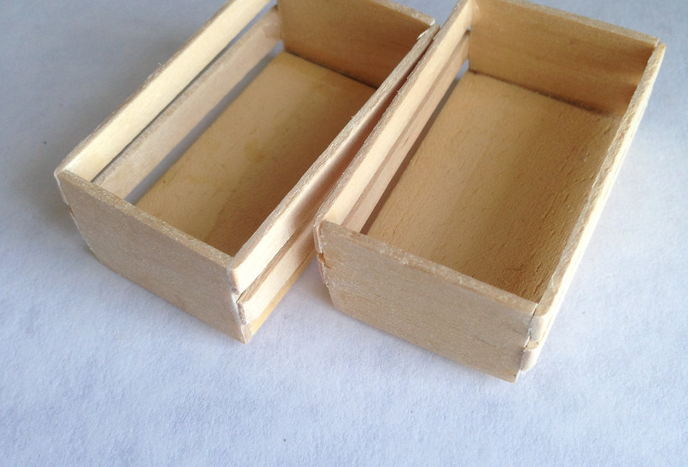 Pair of Slatted Wooden Vegetable Boxes
