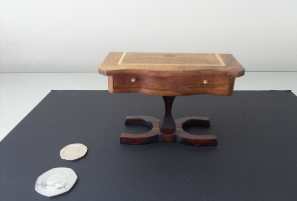 Inlaid Pedestal Console Table (Oblong detailing)