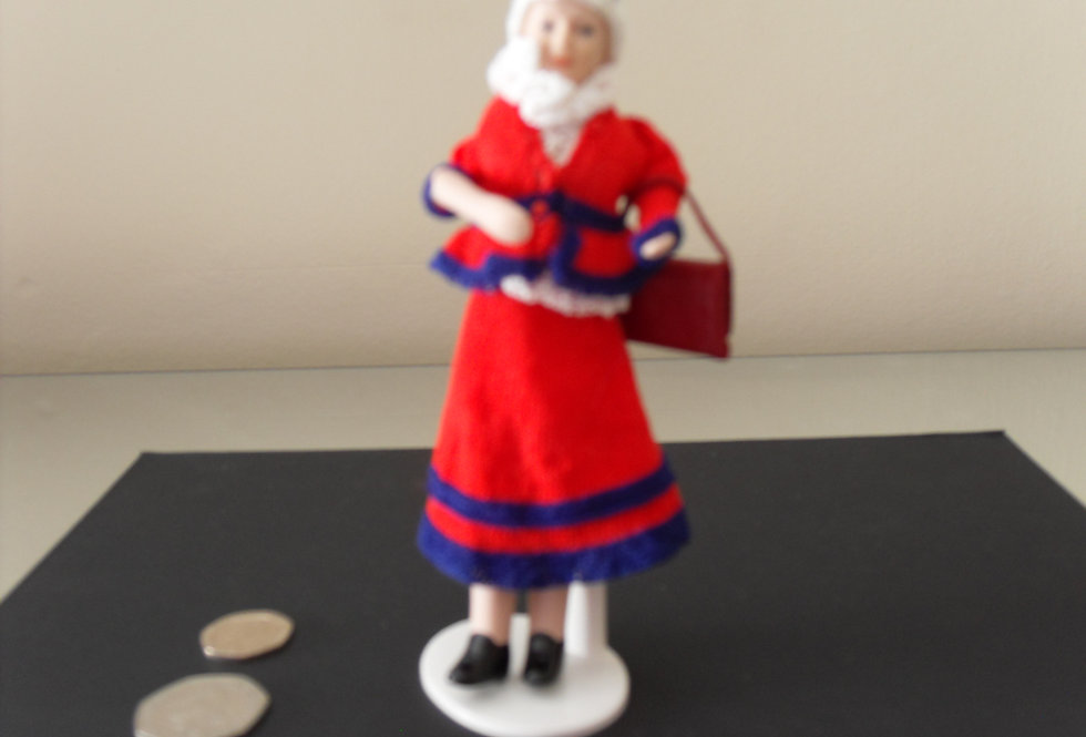 Doll - Red / Navy Outfit with fabric Handbag