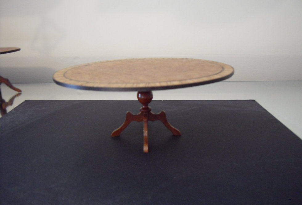 Inlaid Single Pedestal Oval Dining Table