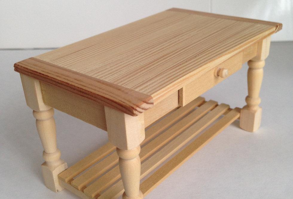 Whitewood Farmhouse Table (with Shelf)