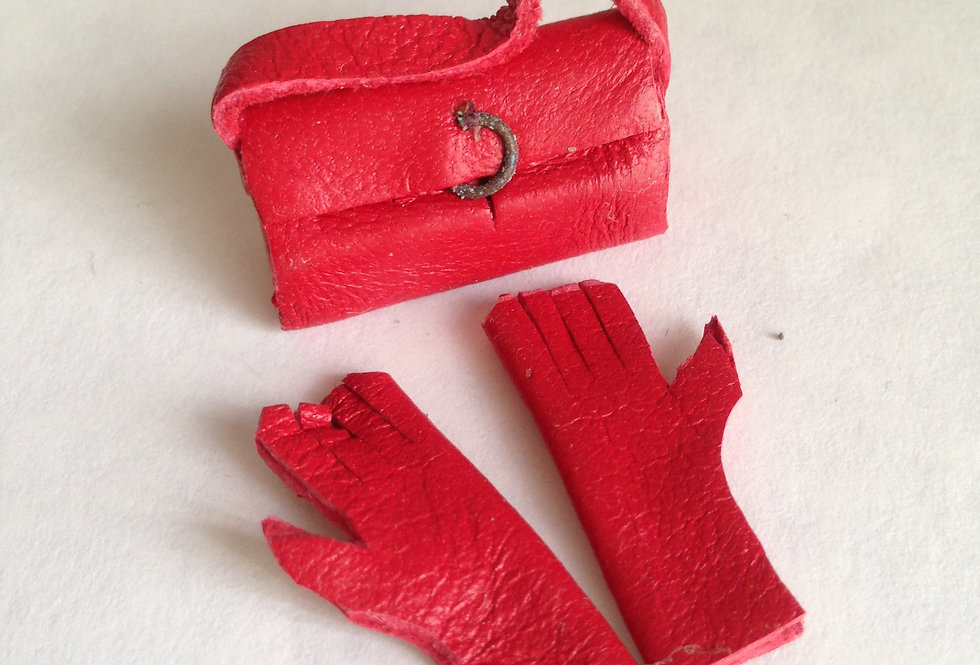Red Leather Handbag and Gloves