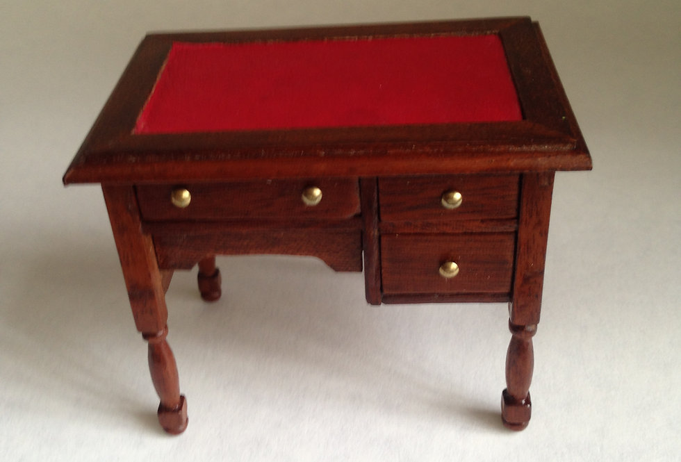 Red Leather Inlaid 3 Drawer Desk