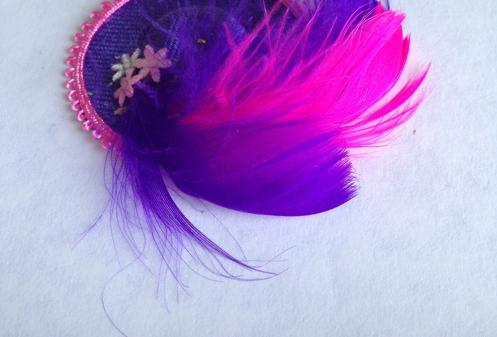 Dark Blue Hat with Pink Trim and matching Feathers