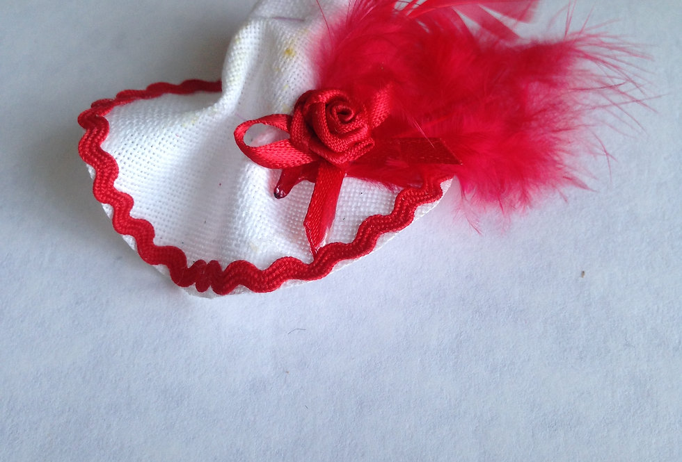 White Satin Hat with Red Rose and Feather