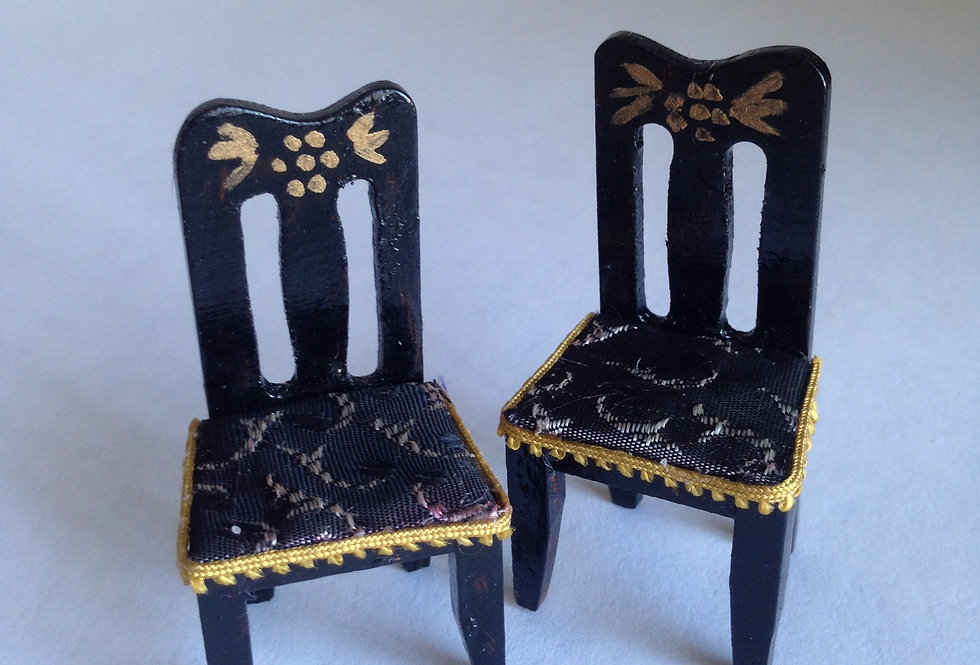 Pair of Hand Decorated High Back Chairs
