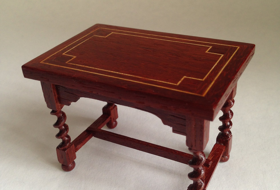 Oblong Dark Wood Inlaid Table
