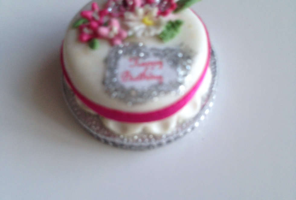 Birthday Cake (Fuchsia Ribbon)