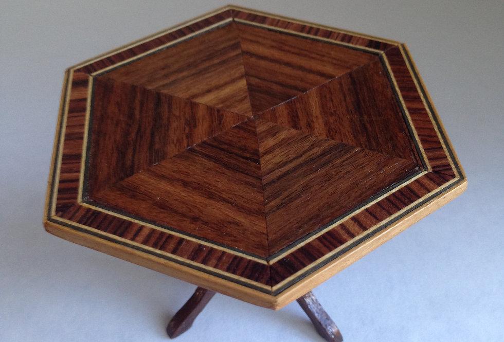 Inlaid Hexagonal Tripod Table