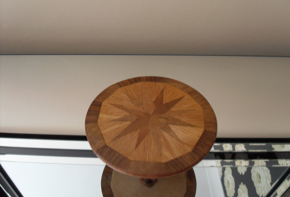 Round Inlaid Console Table (large Starburst)