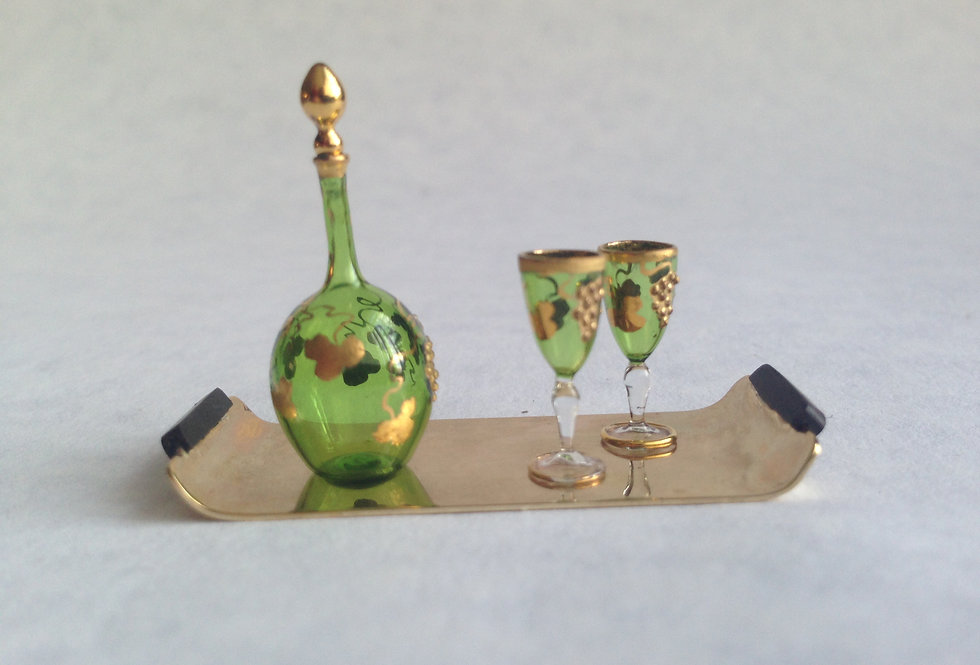 Bohemian Style Decanter and Glasses (x2)