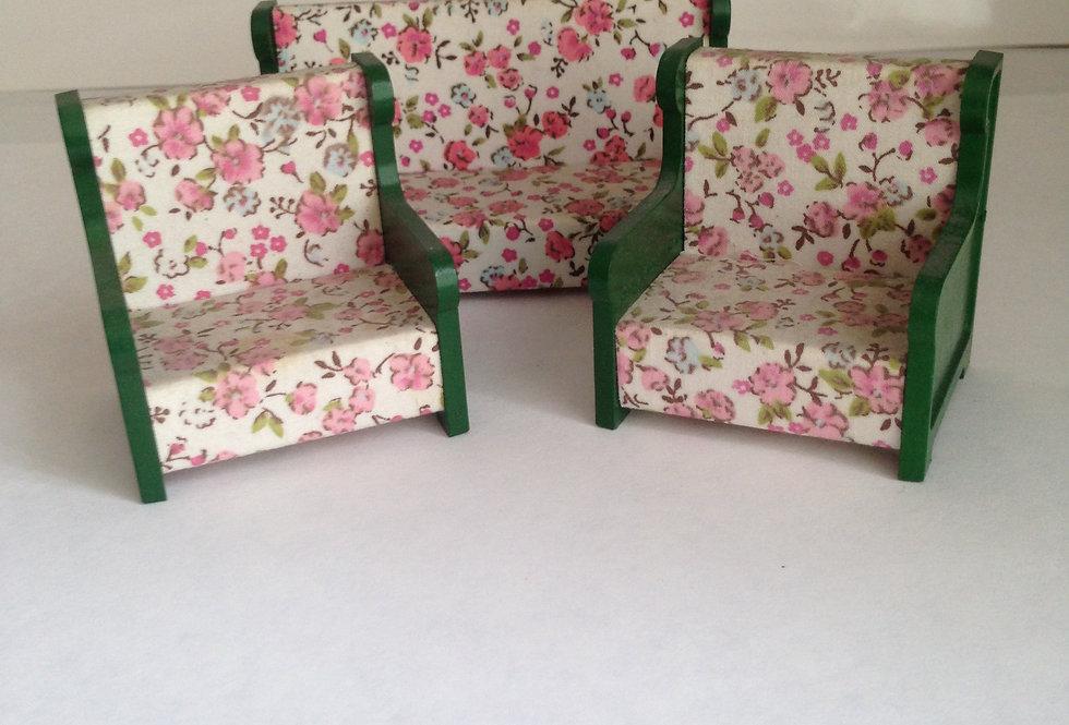 3 Piece Suite (Pink Floral / Wooden Frame)