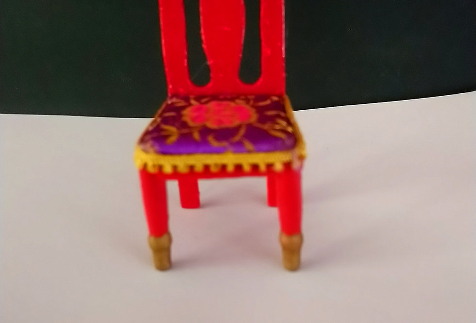 Hand Decorated High Back Chair (Red)