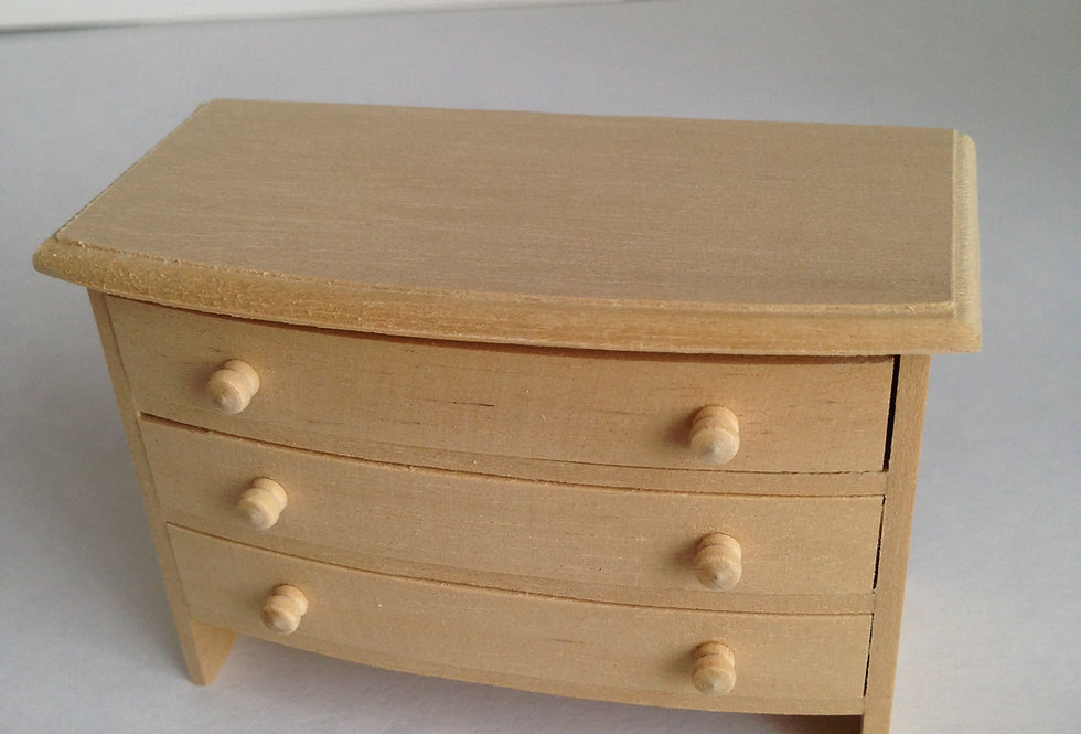 Whitewood Chest of 3 Drawers