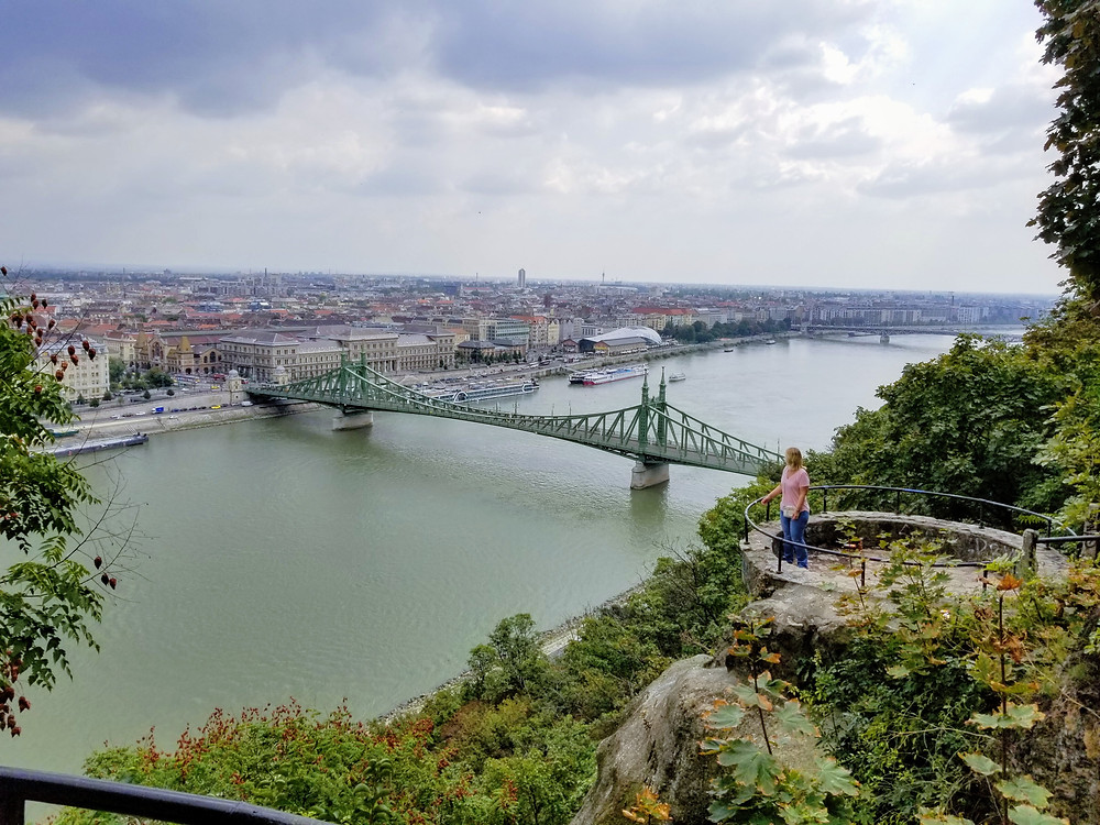 Looking down from a lookout point to the Danube River. A bridge crossing the width of the river with a couple cruise ships in the distance.