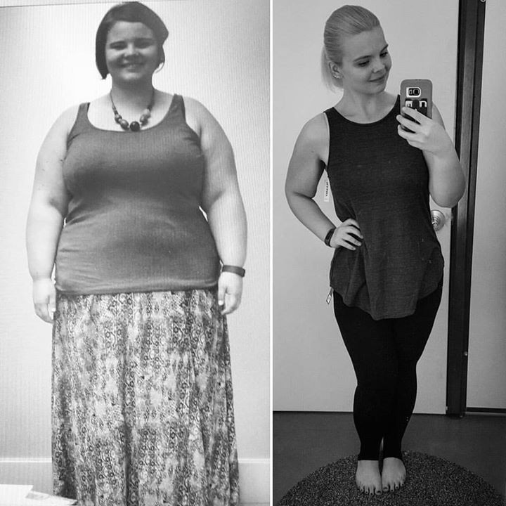 Weight loss transformation photo.