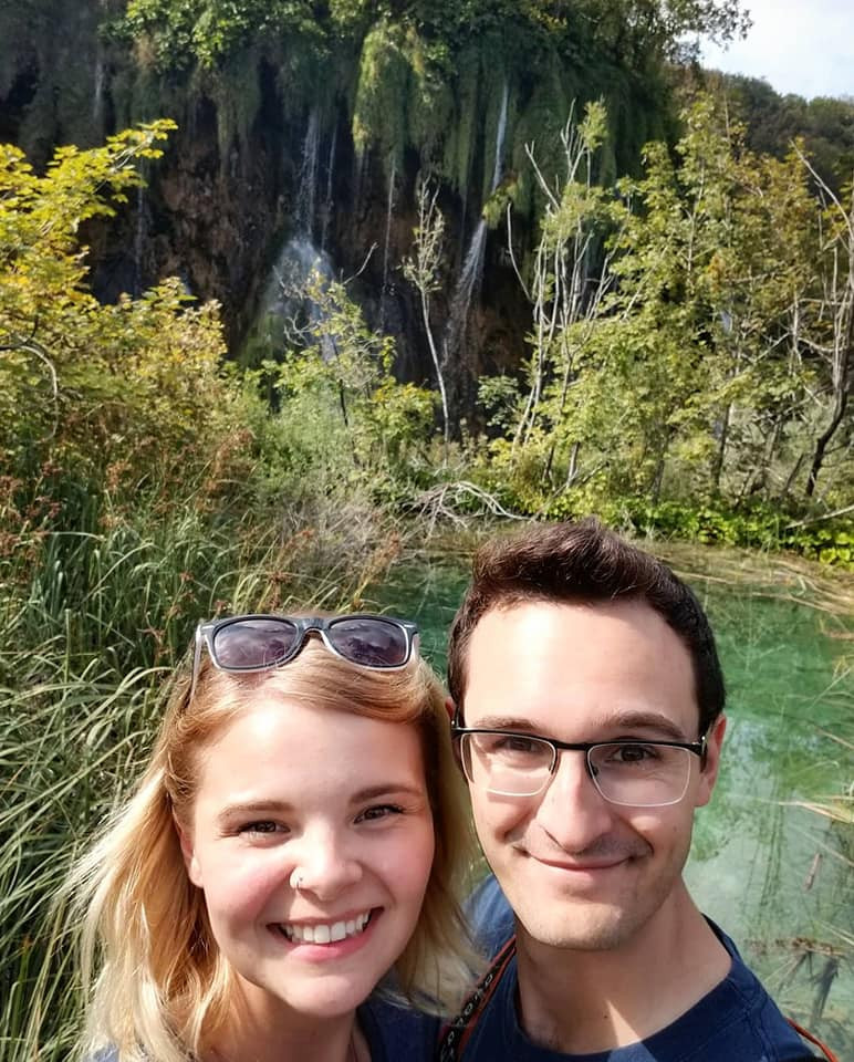 Kayla and Anthony in Plitvice National Park in Croatia.