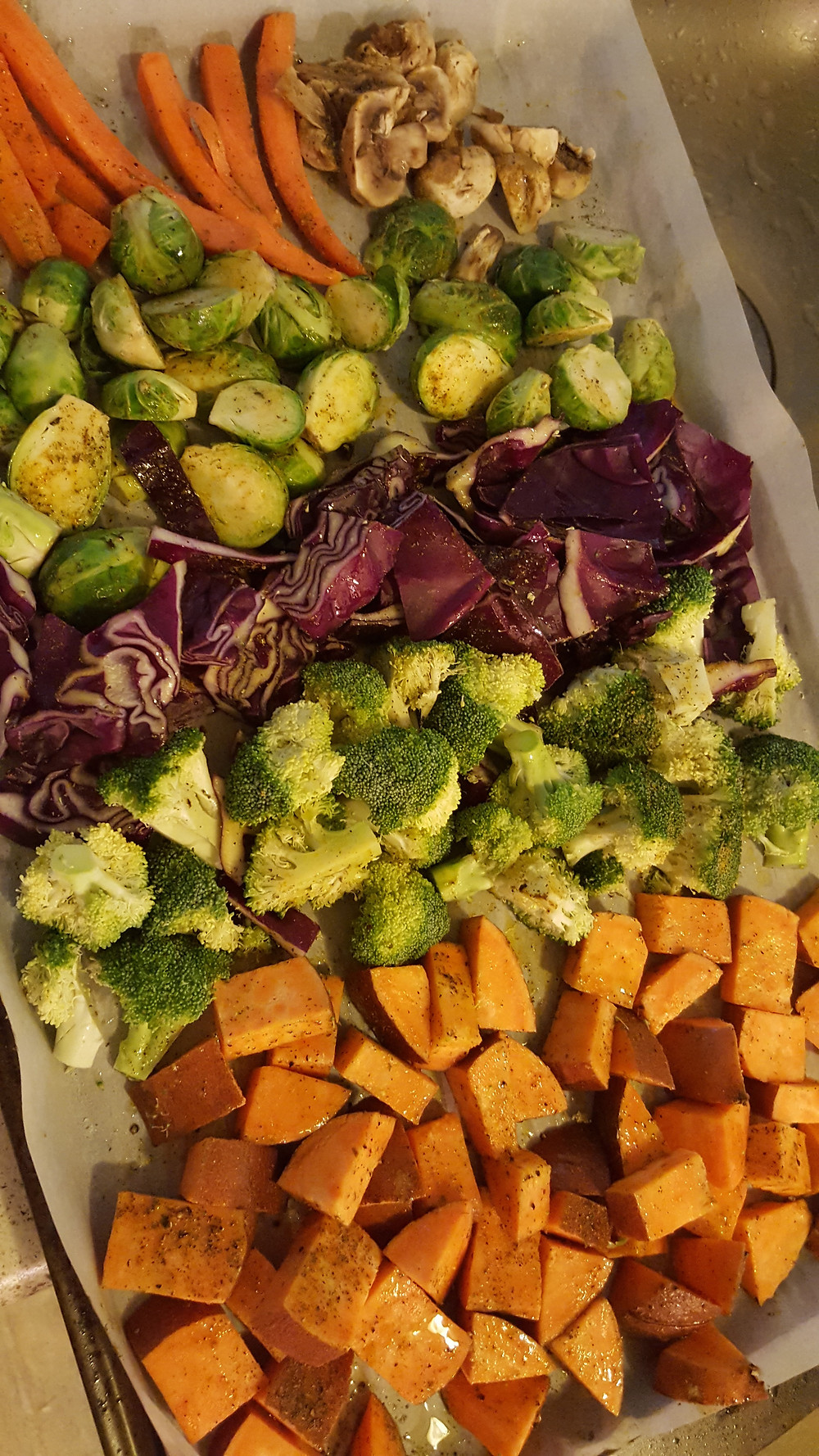 A sheet pan with roasted mixed vegetables.