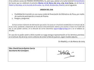 JUNTA GENERAL EXTRAORDINARIA DE SOCIOS DE PINAMA INVERSIONES, S.L.