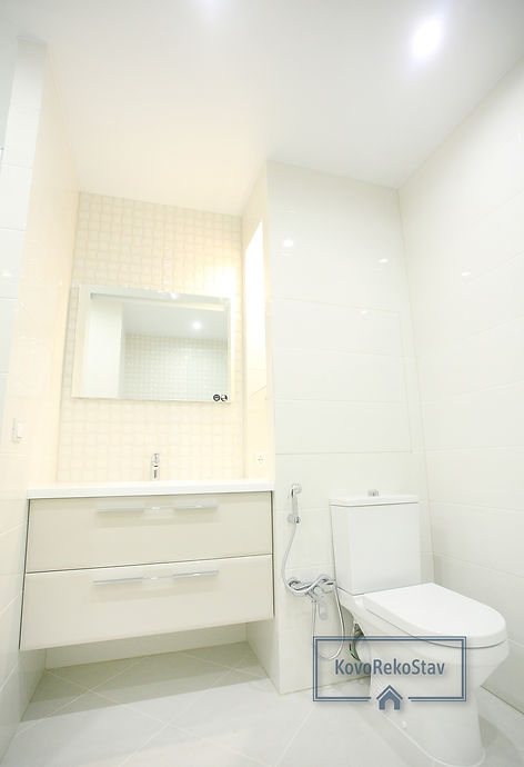 One of the KovoRekoStav s.r.o. finished projects in Prague 9, Prosek. Photo of the bathroom.