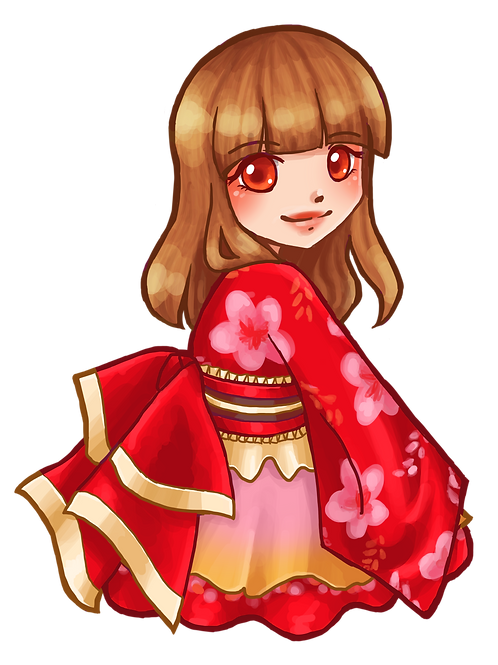 Red Yukata Art Pin
