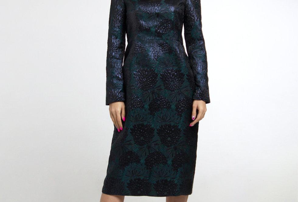 Платье с увеличенными плечами/ Черный изумруд