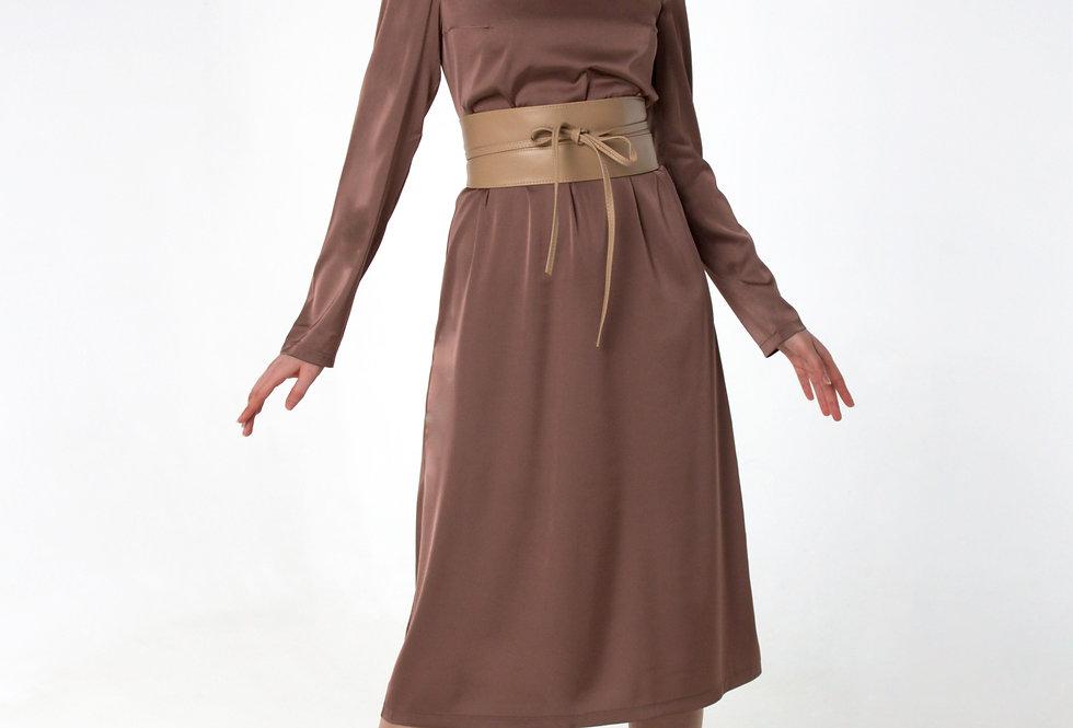 Платье шелковистое /Кофе