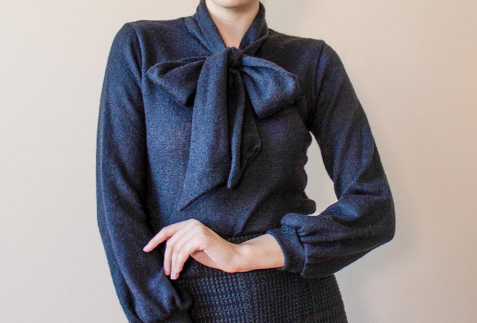 Блузон шерстяной с укороченным рукавом/ Черный