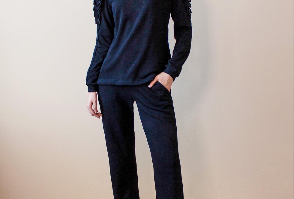 Трикотажный костюм с начесом/Черный