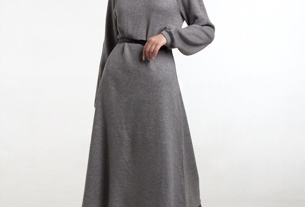 Трикотажное платье/ рукав реглан - Серое