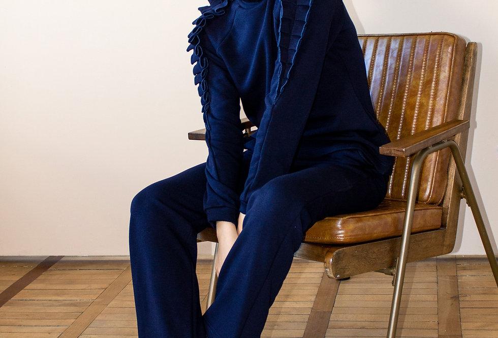Трикотажный костюм с начесом/Синий