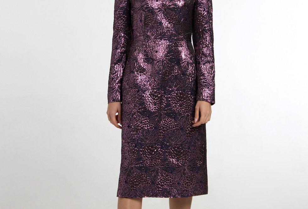 Платье с увеличенными плечами/ Сине-лиловое