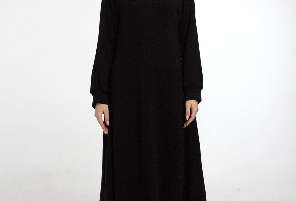 Трикотажное платье/ рукав реглан -Черное