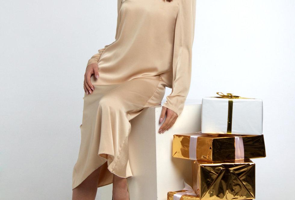 Платье шелковистое /Кремовое