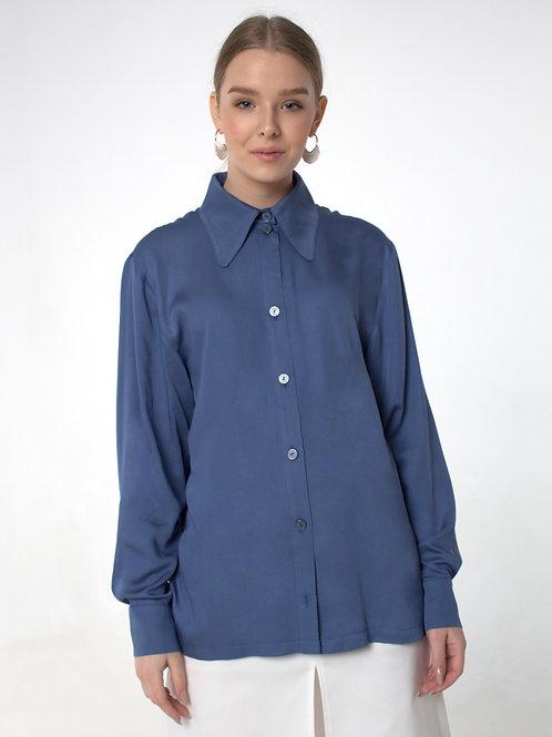 Блуза - вискозный шелк / Голубая