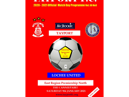 Match Programme for postponed Lochee United game