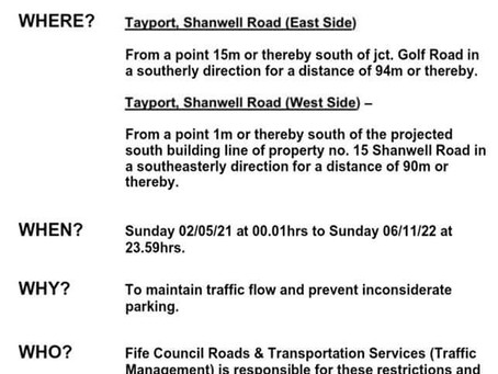 From Fife Council - Parking Restrictions