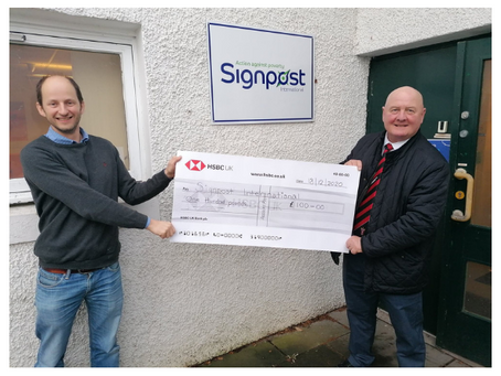 Tayport FC support Signpost International