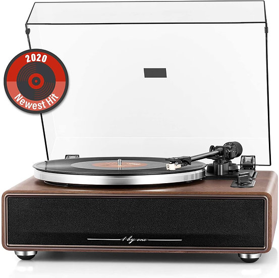 1byone High Fidelity Belt Drive Turntable with Built-in Speaker