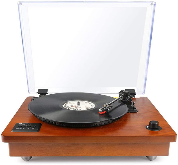 1byone Belt Driven Wireless Turntable with Built-in Stereo Speaker